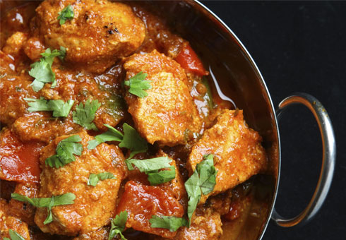 Hilton Swansea saucy chicken balti dish made with fresh breast meat