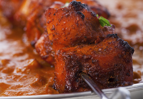 Cinnamon Lounge Herts chunky tandoori chicken skewer