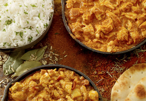 Tasty chicken curries with rice