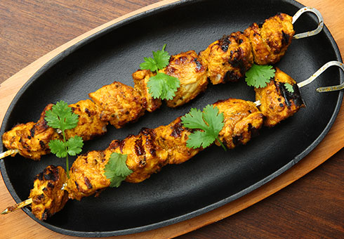 Amasi Cafe London chicken tikka skewers