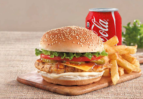 Amasi Cafe London flame grilled chicken fillet burger with chips and drink