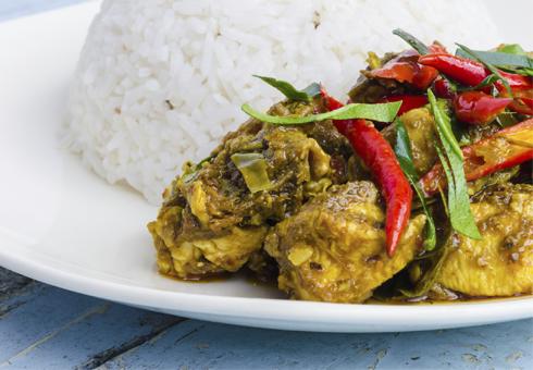Freshly prepared hot Balti dish.