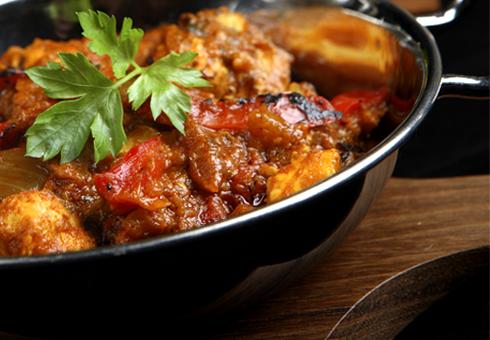 Fresh indian balti dish. Akash Southfields indian