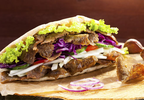 hot and spicy merseyside deep fill donner kebab with fresh salad and sauce