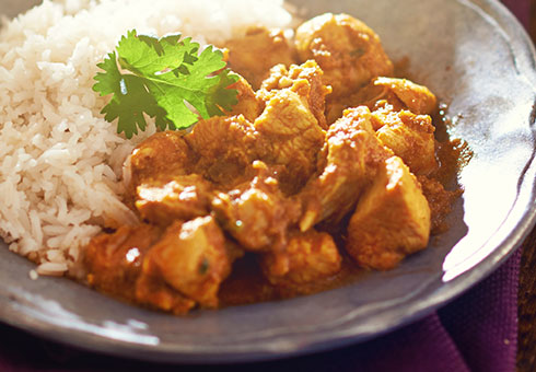 Bollywood Lounge Wirral spicy chicken madras served with tasty white rice