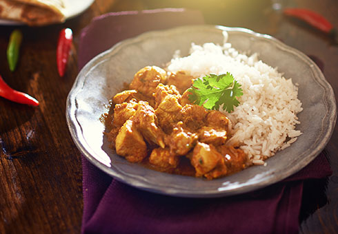 Village Spice Frome hot chicken curry served with delicate white rice