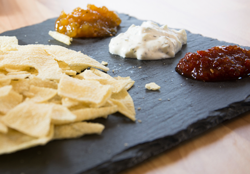 Kaz's Indian Harlow crunchy popadoms with a selection of authentic chutneys