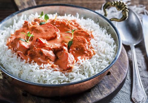Freshly cooked Chicken Tikka Masala at Flash In The Pan, Lye