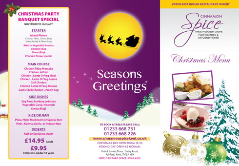 Our Christmas Menu at Cinnamon Spice, Kent.