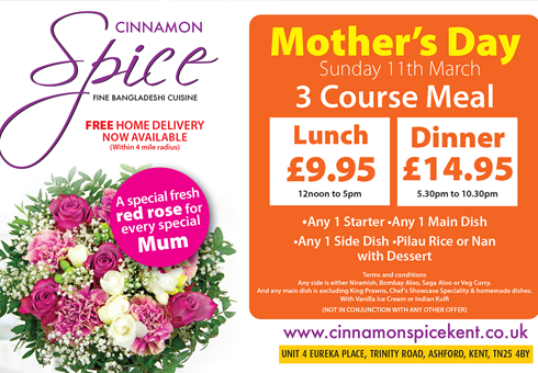 Mothers Day at Cinnamon Spice, Kent.