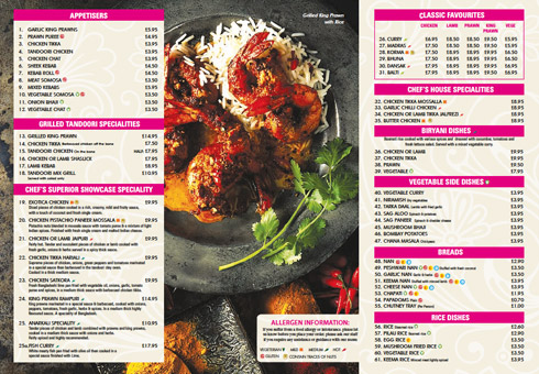 Our Dine In Menu at Cinnamon Spice, Kent.
