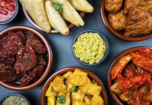 Variety of Indian Starters. Dhanshiri
