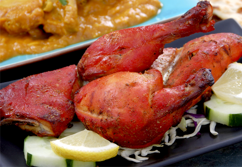 Traditional tandoori Chicken. Indian Restaurant. BeJoy, London.
