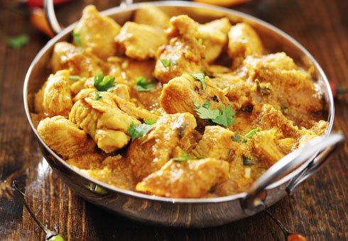 Kashmir Tandoori Shiremoor Newcastle creamy chicken curry served in a balti dish