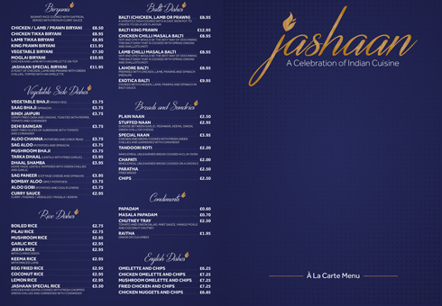 Jashaan Dining In Menu