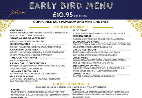 Jashaan Early Bird Menu