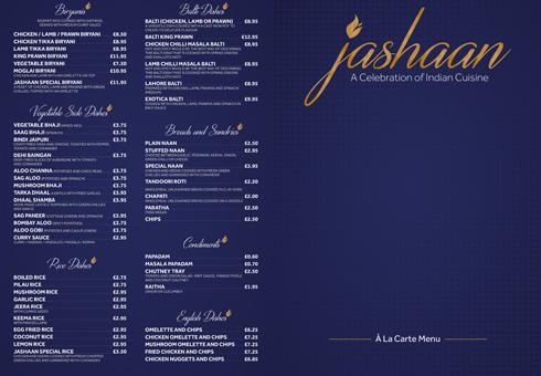Jashaan Dining In Menu