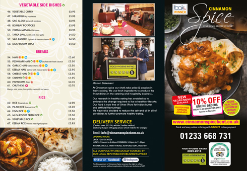 Our Menu at Cinnamon Spice, Kent.